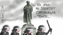 Karikatur von Sergey Elkin Proteste in Moskau