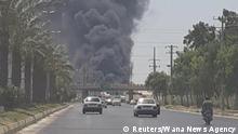 Iran Hafen Feuer Brand Bushehr