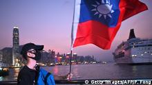 Hongkong Taiwanesische Flagge an Taiwans Nationalfeiertag