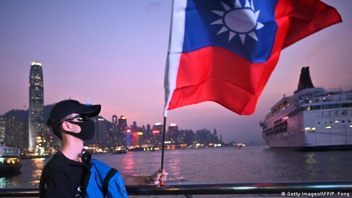 Hongkong Taiwanesische Flagge an Taiwans Nationalfeiertag (Getty Images/AFP/P. Fong)