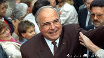 Then Chancellor Helmut Kohl in 1990