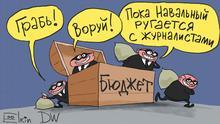 Karikatur von unserem Karikaturisten Sergey Elkin ins System. Copyright Sergey Elkin. Stichwörter: Alexey Navalny, Ivan Golunov, Karikatur, Sergey Elkin