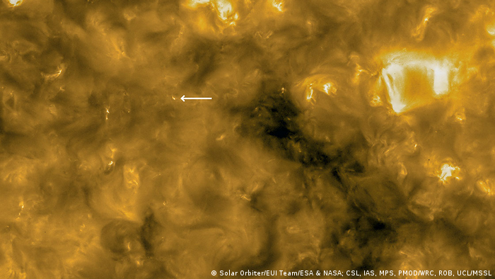 Solar Orbiter image of the sun (Solar Orbiter/EUI Team/ESA & NASA; CSL, IAS, MPS, PMOD/WRC, ROB, UCL/MSSL)
