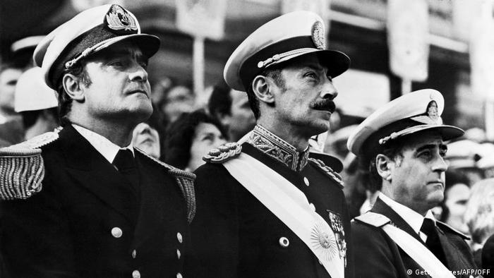 Admiral Emilio Massera, Lieutenant General Jorge Rafael Videla and General Orlando Ramon Agosti led Argentina as a three-person military junta after a coup deposed President Isabel Peron in 1976