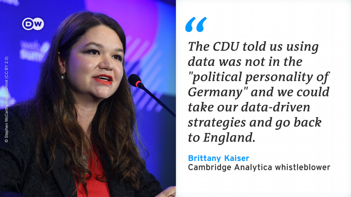 Quote card of Cambridge Analytica whistleblower Brittany Kaiser