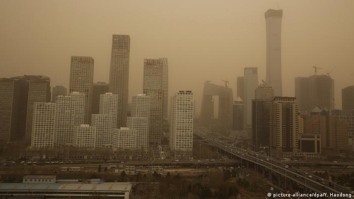 Smog over office buildings in Beijing's east-side Tongzhou district