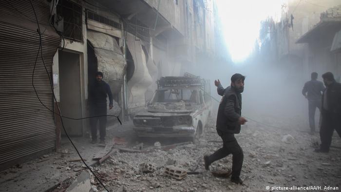 Бомбарировка города Дума в Сирии