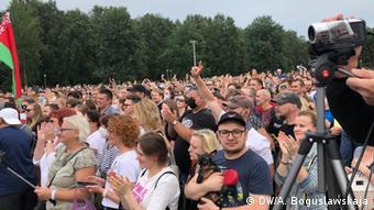 На митинге в поддержку Светланы Тихановской в Минске