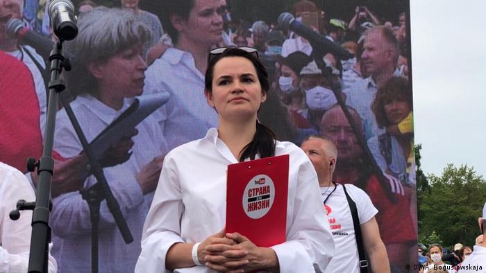 Belaurs Minsk Veranstaltung von Swetlana Tichanowskaja, Oppositionskandidatin (DW/A. Boguslawskaja)