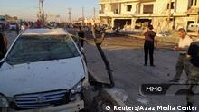 The aftermath of an explosion in Azaz, Syria July 19, 2020 is seen in this picture obtained from social media. Azaz Media Center/via REUTERS THIS IMAGE HAS BEEN SUPPLIED BY A THIRD PARTY. MANDATORY CREDIT. NO RESALES. NO ARCHIVES. MUST NOT OBSCURE LOGO.