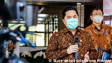 Erick Thohir Image Description: State-owned Enterprises MInister Erick Thohir leads the COVID-19 Economic Recovery Team Tags: erick thohir, SOEs minister Who took the picture / photographer ?: State-owned Enterprises Ministry When was the picture taken ?: 20 July 2020 Where was the picture taken ?: Jakarta