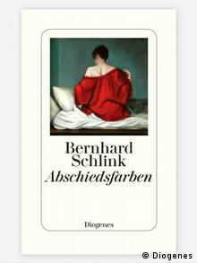The cover of the book Abschiedsfarben which depicts a woman from behind wearing a red shirt sitting on a bed