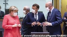 EU-Gipfel Coronavirus | Angela Merkel, Emmanuel Macron und Charles Michel