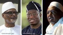 L: Mali President Ibrahim Boubacar Keita M: Nigerian President Goodluck Jonathan R: Malian imam and former head of the High Islamic Council of Mali (HCIM), Mahmoud Dicko