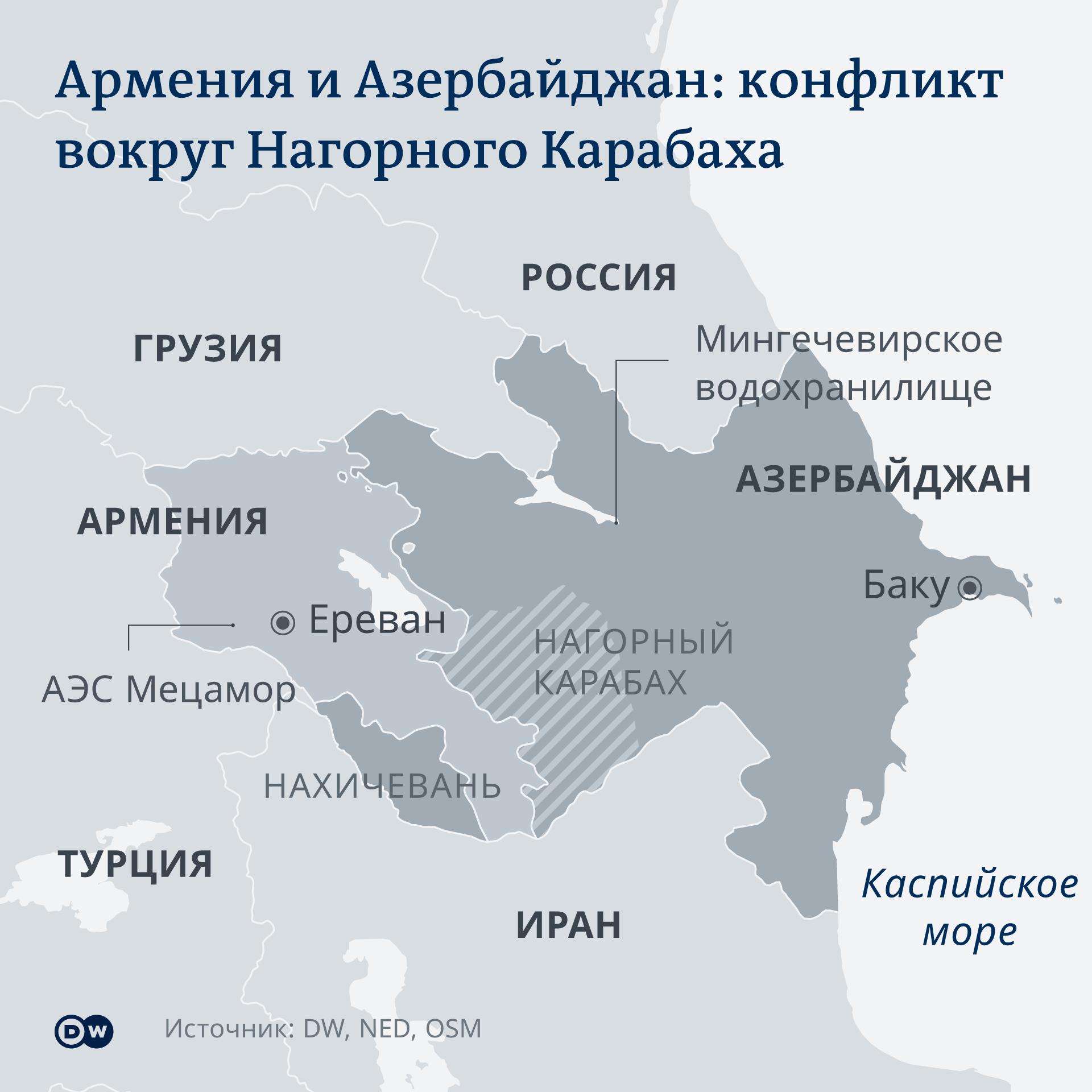 Karte - Armenien/Aserbaidschan - RU