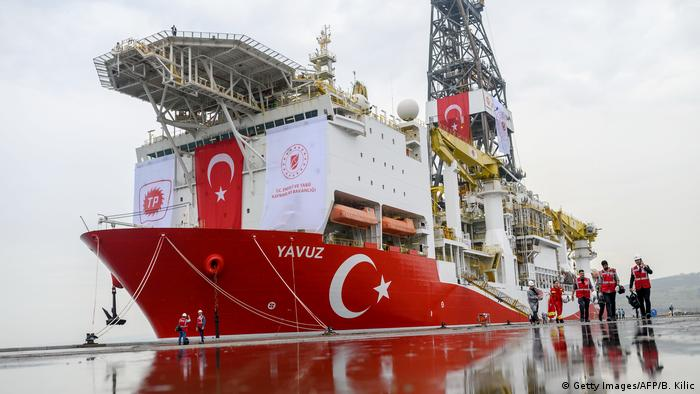 The Turkish oil drilling ship Yavuz waits at a dock (Getty Images/AFP/B. Kilic)