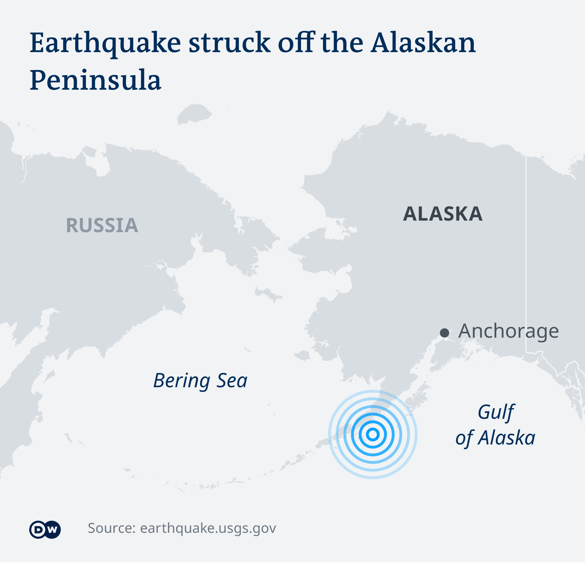 Map showing the epicenter off the coast of Alaska