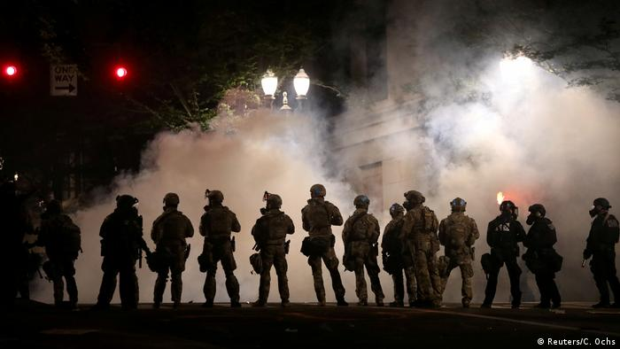 Us federal law enforcement officers deployed at a protest in Portland, Oregon
