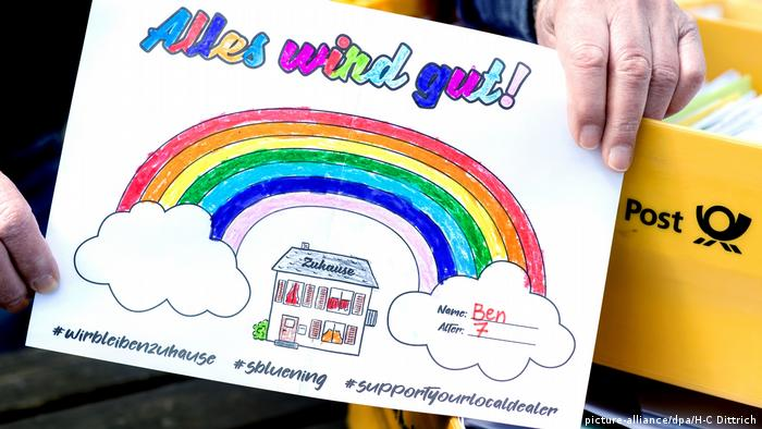 Семицветная радуга с подписью Все будет хорошо!