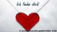 Liebesbrief mit Herz und Schriftzug Ich liebe dich