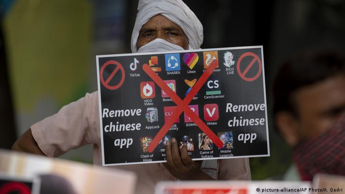 Indian man protesting China