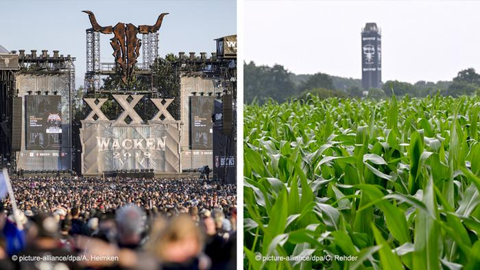 Wacken Open Air festival, filled with crowds on the left, and its location of an empty field on the right