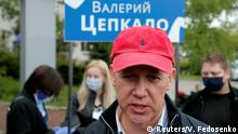 FILE PHOTO: Valery Tsepkalo, a potential candidate in the upcoming presidential election, speaks to the media amid the coronavirus disease (COVID-19) outbreak in Minsk, Belarus May 26, 2020. REUTERS/Vasily Fedosenko/File Photo