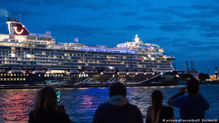 A cruise liner sets sail from Hamburg in July 2020 for a 3-day cruise with coronavirus hygiene protocols