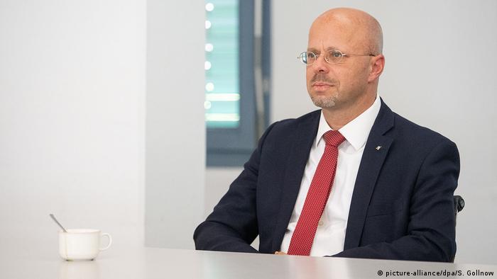 Andreas Kalbitz während der mündlichen Verhandlung des AfD-Bundesschiedsgerichts in Stuttgart