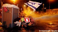 Israel Anti-Regierungs-Proteste Polizei Wasserwerfer