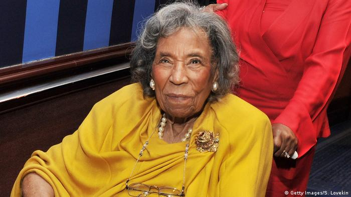 Civil rights hero Amelia Boynton wearing a yellow dress