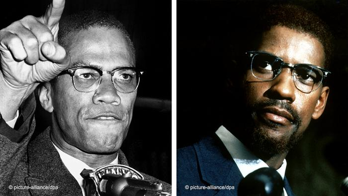 Malcolm Little, better known as Malcolm X, and actor Denzel Washington