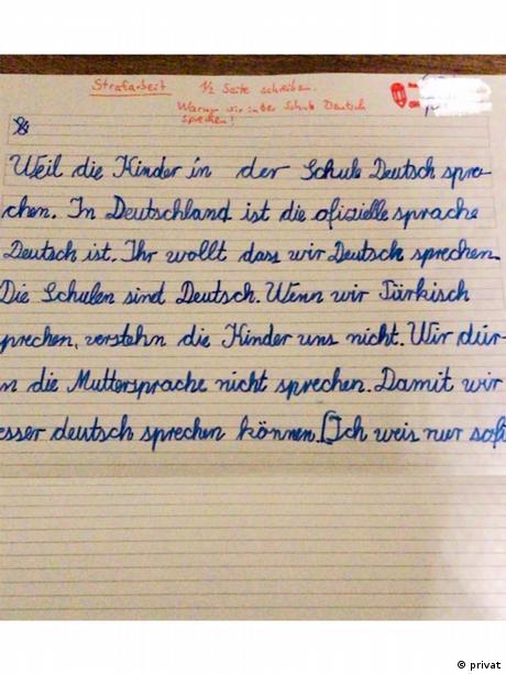 Türkçe konuşan öğrenciye verilen ceza ödevi