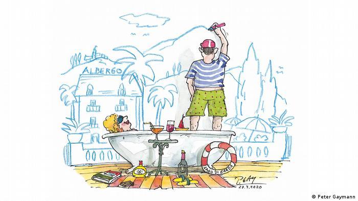 Corona-Tagebuch von Peter Gaymann: Ein Mann zeichnet Urlaubsträume an die Badezimmerwand, eine Frau aalt sich derweil in der Badewanne. (Peter Gaymann)