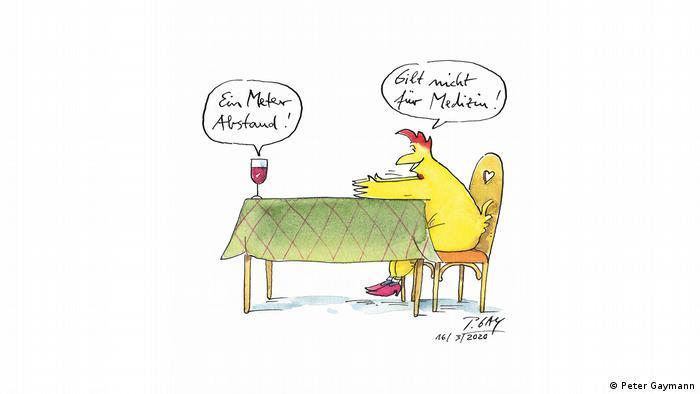 Ein Huhn sitzt am Tisch, auf dem ein Weinglas steht - in einem Meter Abstand (Peter Gaymann)