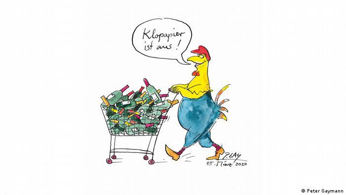 Peter Gaymanns Huhn füllt den Einkaufwagen mit Weinflaschen - weil Klopapier ausverkauft ist. (Peter Gaymann)