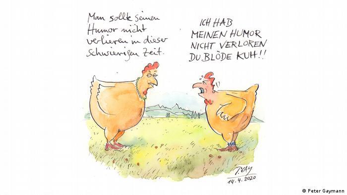 Zwei Hühner im Gespräch über Humor in Krisenzeiten. (Peter Gaymann)