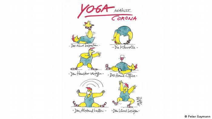 Blick ins Corona-Tagebuch von Peter Gaymann: Hühner beim Yoga. (Peter Gaymann)
