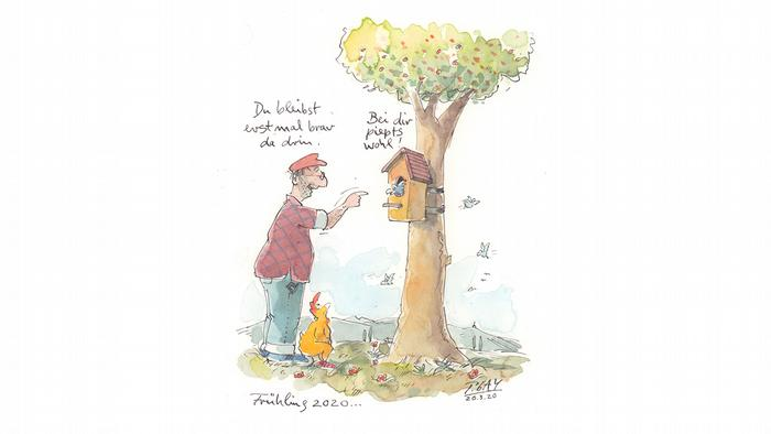 Cartoon von Peter Gaymann: Ein Mann will einen Vogel zum Lockdown im Vogelhaus verdonnern.
