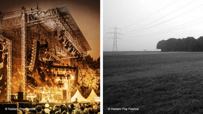 Two photos, one of an elaborate stage at the Haldern Pop festival and another one of grey empty field.