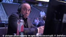 Announcer Joe Rogan reacts during UFC 249 at VyStar Veterans Memorial Arena on May 09, 2020 in Jacksonville, FL. (Douglas P. DeFelice/Getty Images/TNS) Photo via Newscom picture alliance |