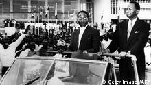New elected president of Senegal Leopold Sedar Senghor (L) and president of Council Mamadou Dia (R) parade in front of the General Assembly, on September 5, 1960 in the streets of Dakar. (Photo credit should read -/AFP via Getty Images)