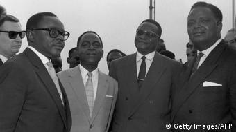 Maurice Yameogo en compagnie de Felix Houphouët Boigny, Hamani Diori et Hubert Maga