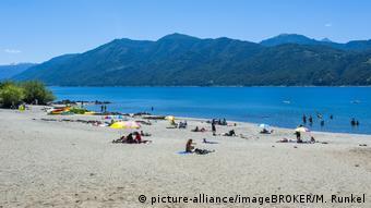 Chile, sandy beach at Lago Caburga near Pucon