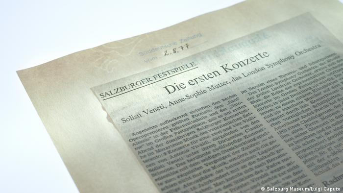 Newspaper critique with the headline: The First Concerts (Salzburg Museum/Luigi Caputo)