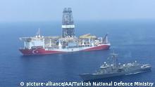 سفينة تنقيب تركية في طريقها الى منطقة تنقيب في البحر الابيض المتوسط