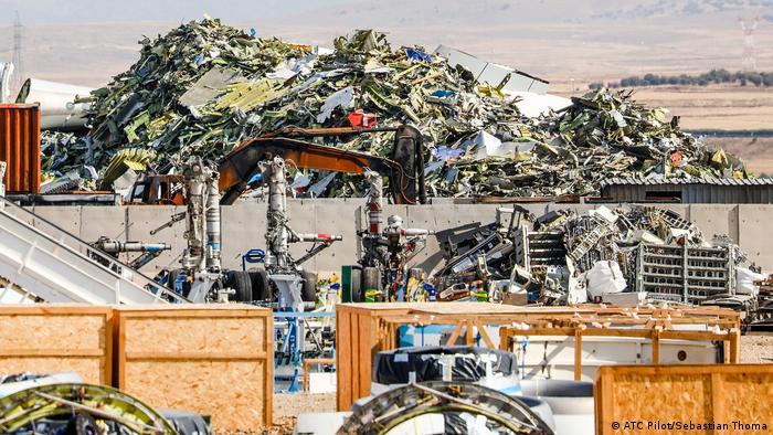 The scrapyard in Terue, Spain looks like a massive dinosaur cemetery