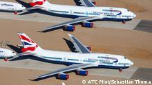 Ausgemusterte Boeing 747 von British Airways in Teruel / Spanien