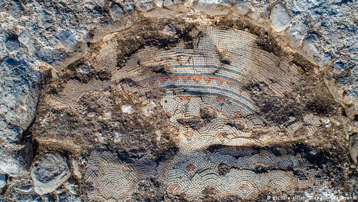 Partially preserved mosaics from an excavation near Kfar Kama, Israel, that discovered an ancient church