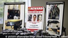 DEA agents fanned out across the United States Wednesday, March 11, 2020, culminating a six-month investigation with the primary goal of dismantling the upper echelon of Cartel Jalisco New Generation (CJNG) and hoping to get closer to capturing its leader, one of the most wanted men in America, Nemesio El Mencho Oseguera. There's a $10 million reward for the arrest of him. Photos of him and methamphetamines recently confiscated was displayed at a news conference at the DEA San Diego office. (K.C. Alfred/San Diego Union-Tribune/TNS) Photo via Newscom picture alliance |